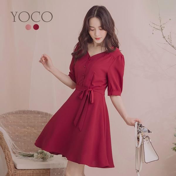 東京著衣【YOCO】YOCO-溫柔典雅腰綁結公主袖洋裝-S.M.L(190148)