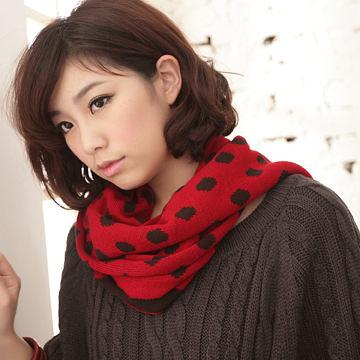 針織圍巾  台灣製冬必備經典普普風圓點編織圍巾-獨具衣格中大尺碼