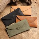 【Solomon 原創設計皮件】輕薄真皮信封長夾 牛皮簡約翻蓋錢包 手機包