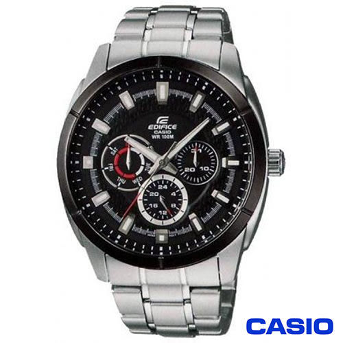 【CASIO卡西歐】EDIFICE金屬系列鋼帶三眼多功能錶 EF-327D-1A