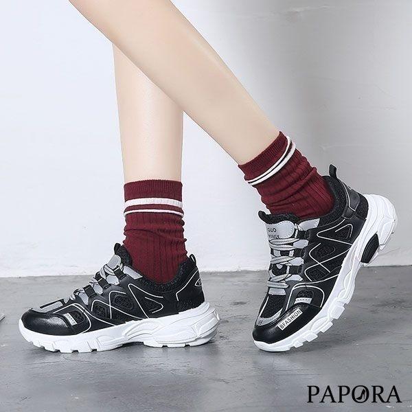 學生鬆緊帶休閒老爹鞋K8850黑色(偏小)售完不補