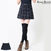 短裙--優雅俏麗經典英倫格紋風雙扣八片式毛呢短裙(黑XL-5L)-Q56眼圈熊中大尺碼