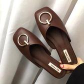 春夏新款韓版金屬扣包頭半拖奶奶鞋懶人平底方頭涼拖鞋穆勒鞋