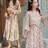 【免運】胖mm大碼女裝遮肚顯瘦碎花雪紡連衣裙2019新款夏很仙女的裙子收腰