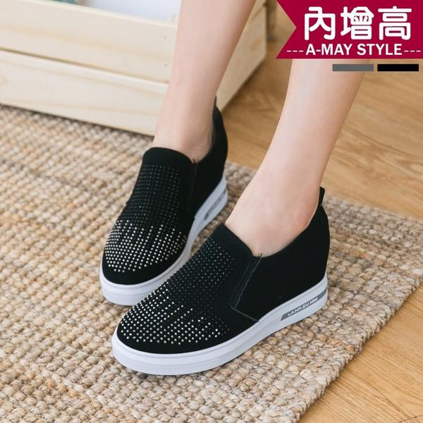 休閒鞋-閃耀水鑽內增高休閒懶人鞋