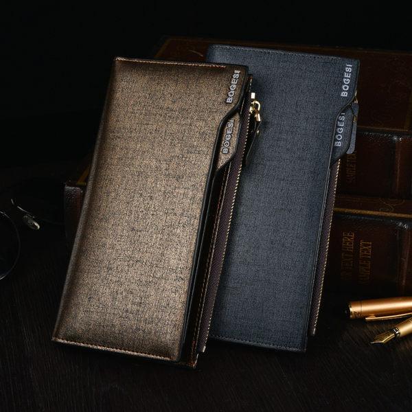 長夾 多功能拉鍊皮夾 男用皮夾 錢包 皮夾 零錢包 手拿包 PU皮夾 手機包【RS920】