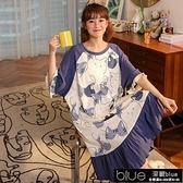 睡裙女夏棉質短袖學生韓版可愛加大碼孕婦睡衣中長款可外穿家【全館免運】