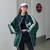 秋季寬鬆休閒運動外套女2021新款百搭撞色條紋棒球服長袖開衫上衣