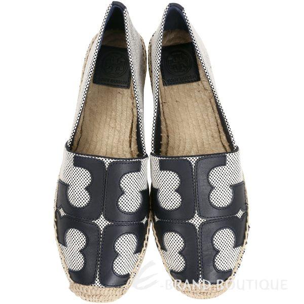 TORY BURCH Tivoli Espadrille黑色品牌圖騰草編鞋 1620265-77