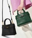 【2wenty6ix】新加坡正品 CHARLES&KEITH 時尚荔枝&鱷魚紋皮革 金屬鎖扣手提包