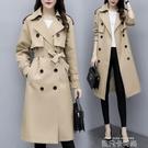 卡其色風衣女中長款2020年秋季新款雙排扣氣質大衣英倫風時尚外套 依凡卡時尚