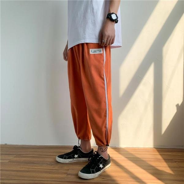 限時優惠 褲子男韓版潮流新款夏季薄款束腳寬松運動工裝針織休閑長褲