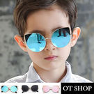 OT SHOP太陽眼鏡‧中大兒童款抗UV墨鏡時尚潮流金屬膠框貓眼造型‧黑色/紅色/藍色‧現貨‧K20