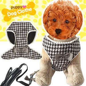 牽引繩帶拉繩拉帶鏈子鏈狗繩子用品百貨千鳥格透氣寵物胸背帶組+牽繩背心式胸背帶推薦哪裡買