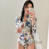 韓國新款連體潛水服女長袖防曬速干泳衣沖浪浮潛服顯瘦水母衣泳裝   泡芙女孩輕時尚