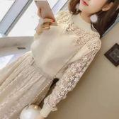 現貨 長袖洋裝   蕾絲連身裙2018新款收腰中長款長袖冬季打底裙子 602-633