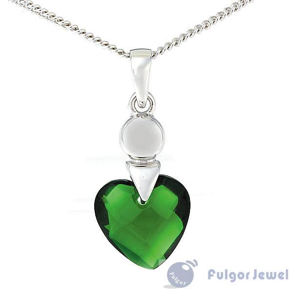FU銀飾意大利流行飾品 生日情人節禮贈品 完美綠色心型鋯石925純銀耳環/項鍊套組【Fulgor Jewel】