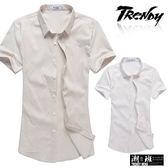 『潮段班』【SD032209】滿版格紋長串英文印花立領短袖襯衫上衣