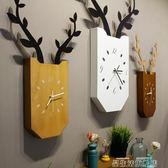 掛鐘北歐創意鹿掛鐘 客廳臥室靜音時鐘木質方形掛表現代簡約家居壁掛【全館免運】igo