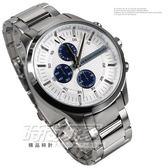 A|X ARMANI EXCHANGE 精品錶 AX2136 三眼錶 白面藍色三眼 全鋼 大錶面 男錶