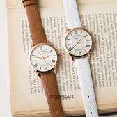 手錶推薦 玫金圓框羅馬數字簡約小刻度造型腕錶 復古風格手錶 色彩亮眼【NE1392】單支