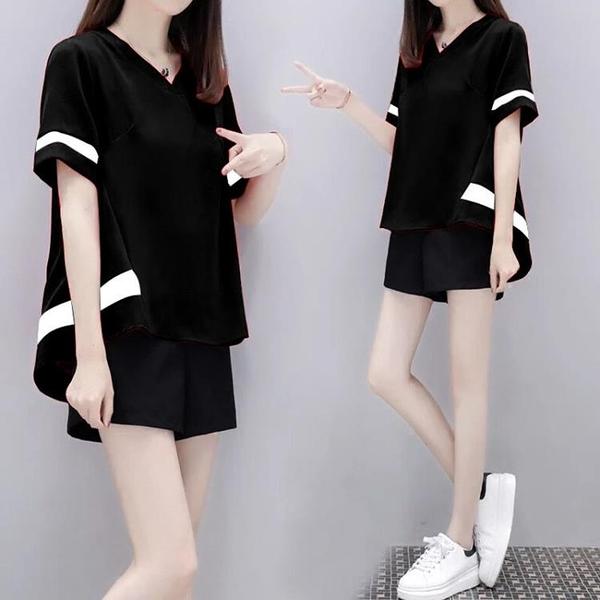 運動套裝 夏季新款大碼女裝寬鬆休閒運動套裝女學生韓版短褲短袖兩件套衣服 夢藝