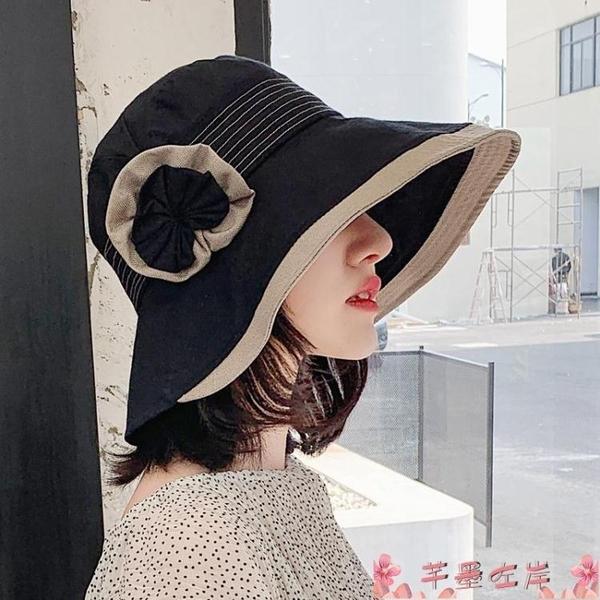 漁夫帽漁夫帽子女夏韓版出游遮陽帽防曬防紫外線遮臉大沿花朵日系太陽帽 芊墨左岸
