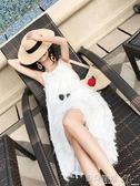 吊帶裙海南三亞巴厘島沙灘裙女海邊度假裙泰國連身裙顯瘦白色吊帶長裙夏 【多變搭配】