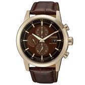 【台南 時代鐘錶 CITIZEN】星辰 亞洲限定款 光動能三眼計時腕錶 CA0612-14X 皮帶 玫瑰金/咖啡 43mm