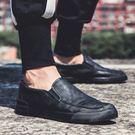 懶人鞋 男鞋春季男士休閑皮鞋懶人一腳蹬韓版百搭潮流英倫鞋子男潮鞋板鞋 【晶彩生活】