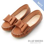 豆豆鞋 D+AF 俏皮可愛.MIT大蝴蝶結莫卡辛豆豆鞋*棕