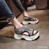 高跟涼鞋女學生新款鬆糕鞋女厚底百搭韓版平底露趾格子涼鞋  潮流前線