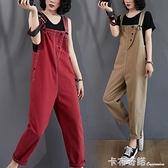 減齡牛仔吊帶褲女韓版夏季新款寬鬆大碼九分褲顯瘦高腰連體褲 卡布奇諾