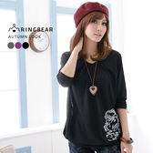 棉T--中國風的雅緻氣息-銀色枝葉寬版垂皺長袖上衣(黑.紫.灰S-XL)-X17眼圈熊中大尺碼