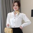 秋裝款高品質v領黑色襯衫女設計感小眾女士襯衣鎖骨上衣心機 扣子小鋪