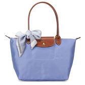 LONGCHAMP經典長提把小型尼龍摺疊水餃包(淺藍紫色-含帕巾)480111-B40