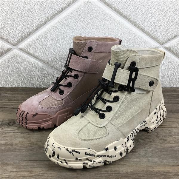 馬丁靴女鞋秋冬季新款網紅帥氣百搭英倫風秋款復古高幫短靴子「時尚彩紅屋」