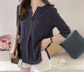 BRIGA SING8339設計師款大碼圓領條紋襯衫女七分袖上衣寬鬆休閒襯衣
