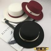 平頂帽 英倫帽復古毛呢帽寬檐平頂小禮帽韓版百搭秋冬帽子潮遮陽帽毛氈帽 榮耀 上新