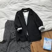 休閒西裝外套 復古翻袖chic黑色小西裝外套女2020新韓版休閒寬鬆西服 小天後