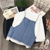 牛仔馬甲女新款春夏超火cec短袖t恤女套裝學院風兩件套ins潮 全館免運