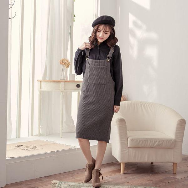 長版個性口袋螺紋吊帶裙 [灰] MDS15007