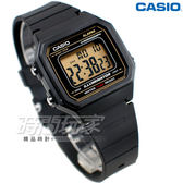 CASIO卡西歐 W-217H-9A 方形數字錶 超亮LED照明 計時碼表 黑色 防水手錶 男錶 金色 W-217H-9AVDF