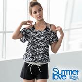 【Summer Love 夏之戀】加大碼幾何顯瘦連身褲三件式泳衣(S19721)