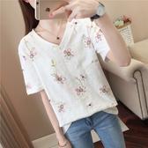 DE shop - 文藝甜美.花朵v領短袖T恤 - T-2556