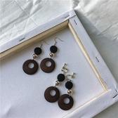 手作設計復古木質木頭耳環金屬圓球長款耳墜個性潮人耳飾R669