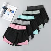 夏季防走光假兩件大碼寬鬆健身瑜伽褲套裝跑步速干高腰運動短褲女