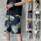 夏季沙灘褲男士休閒短褲子寬鬆大碼闊腿運動哈倫五分褲印花直筒褲 3C優購