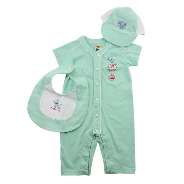 【愛的世界】純棉小狗短袖連身褲3件組禮盒/6個月~2歲-台灣製-  - ---禮盒推薦