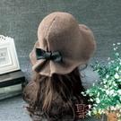 秋冬羊毛呢帽子女時尚圓頂禮帽可愛百搭盆帽漁夫帽潮【聚可愛】